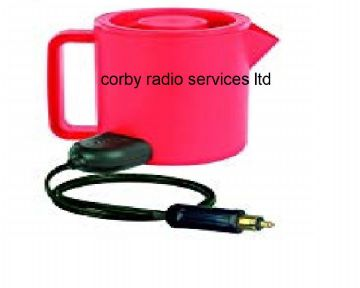 400 W TRAVEL KETTLE 24V DC 1.5 L IN RED WITH EUROPEAN HELLA DC PLUG FOR HGV